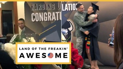 Airman Surprises Sister At Graduation After 3 Years Apart