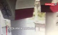 Freni boşalan halk otobüsü binaya çarptı...Kaza anı kamerada