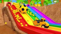 Learn Colors with Construction Vehicle VS Excavator and Soccer Ball Magic Water Slide for Kids
