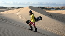 Vietnam athlete carves into sand dunes to realise snowboarding dreams