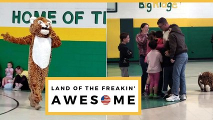 Military Dad Dresses Up As School Mascot To Surprise Kids