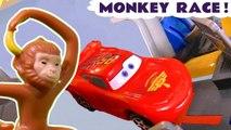 Hot Wheels Monkey Race with Disney Pixar Cars 3 Lightning McQueen with DC Comics & Marvel Avengers 4 Endgame Superheroes vs Transformers and Spongebob