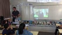 Le ministre Jean-Michel Blanquer s'adresse aux élèves de l'école Auber de Nice