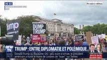 Les images de manifestations contre Trump à Londres durant sa visite à Buckingham