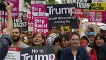 Protesters gather to demonstrate against Trump state visit
