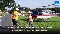 Enedis_mobilise_un_hélicoptere_pour_enlever des poteaux électriques en Dordogne
