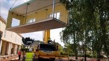 Travaux d'extension de l'école de Bellevue à Forbach, avec la pose de structures modulaires