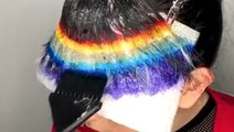 This hair colorist dyes her own bangs rainbow