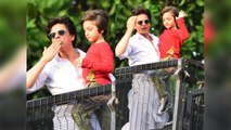Shahrukh Khan wishes Eid Mubarak to his fans outside Mannat With AbRam; Watch video | FilmiBeat