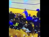 Warriors fan in crowd pushes Kyle Lowry  during Game 3 NBA Finals Raptors vs Warriors 6-6-19