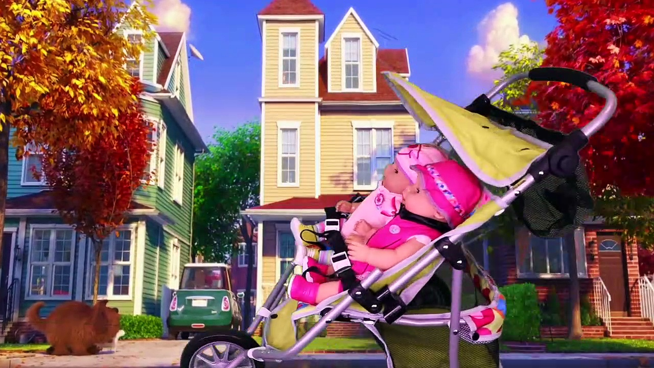 Baby Born Twins Doll Stroller Ride in Park!
