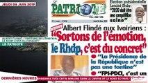 """Le Titrologue du 06 Juin 2019 : Albert Flindé, """"Sortons de l'émotion, le RHDP c'est du concret"""""""