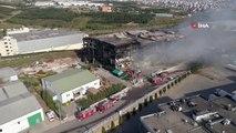 Kocaelide 5 işçinin öldüğü fabrika yangını tamamen söndürüldü   Küle dönen fabrika havadan görüntülendi