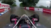 Marco Andretti roule avec des pneus slick sur circuit mouillé (IndyCar)
