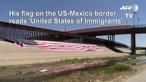 Mexican artist unveils protest 'United States of Immigrants' flag