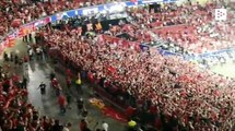 Liverpool fans and team celebrate their Champions League trophy