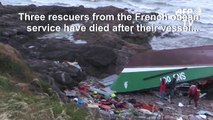 French lifeboat washed up on beach after capsizing