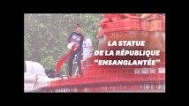 La statue de la République recouverte de faux sang contre les abattoirs