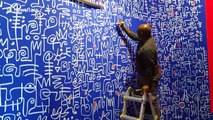 Nigerian artist Victor Ekpuk adds finishing touches to show in London