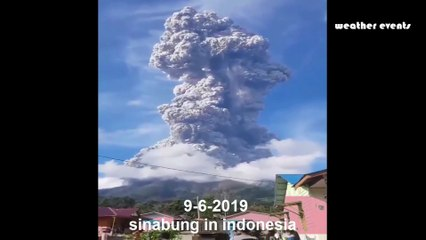 Powerful eruption at Sinabung volcano, ash to 16.7 km 55 000 feet, Indonesia