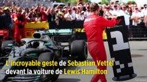 L'incroyable geste de Sebastian Vettel devant la voiture de Lewis Hamilton
