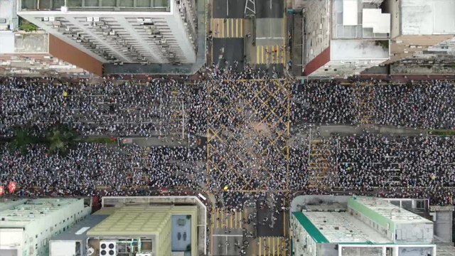 Bird's-eye view of Hong Kong protest against extradition law proposal