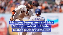 Madison Bumgarner And Max Muncy Argue During A Game