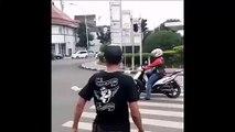 Ce scooter s'arrête sur le passage piéton et il va rapidement le regretter