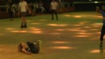 In-Line Roller Skater Accidentally Throws Partner Attempting Trick