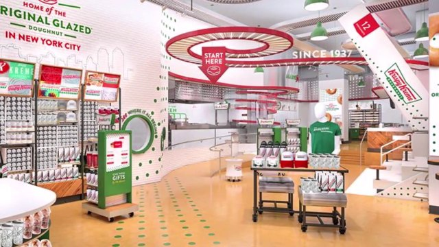Krispy Kreme opening in Times Square with Krispy Kreme Waterfall, stadium style seating, and worlds largest hot light 6-12-19
