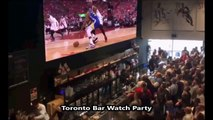 compilation of Raptors fans at Watch Parties reacting, cheering, and celebrating Kevin Durant Achilles injury 6-12-19