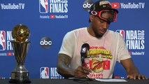 Kawhi Leonard Forgets His MVP Trophy at Press Conference - June 13, 2019 NBA Finals