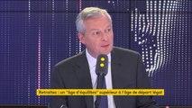 """Réforme des retraites : """"Il y aura des désincitations à partir plus tôt à la retraite"""", dit Bruno Le Maire"""