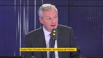 """Fusion avortée de Fiat Chrysler avec Renault : """"Nous n'avons jamais opposé, nous Etat, de veto à cette opération"""", affirme Bruno Le Maire"""