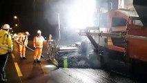 Pose du bitume : Travaux de nuit sur l'autoroute A10 entre Virsac et la rocade de Bordeaux