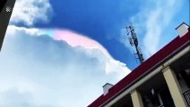 Colourful cloud appeared in sky above Chinese city after rain