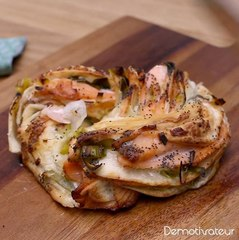 Tresse au saumon, mascarpone et poireau