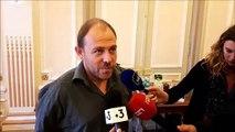 Belfort :  Philippe Petitcolin , représentant de l'intersyndicale s'exprime après la rencontre avec Nicolas Sarkozy