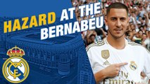 Eden Hazard takes to the Bernabéu pitch-