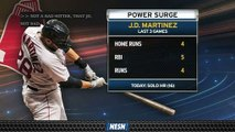 J.D. Martinez providing plenty of offense for Red Sox over his last three games.