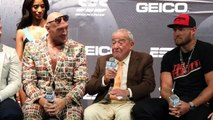 'DONT DO IT' - TYSON FURY URGES BOB ARUM NOT TO COMMENT, AS ARUM MAKES MIKAELA MAYER BLUSH ON STAGE.