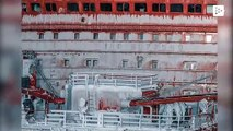 A drone captures impressive images of Russian icebreakers