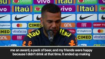 (Subtitled) Dani Alves tells brilliant beer story and makes alcohol joke at press conference