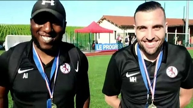 Finale Coupe du Rhône U20 - Ibrahim MAHAZI-ASSAD et Mehdi HOUMER réagissent après la victoire de l'ES TRINITE contre l'O SAINT-QUENTINoumer