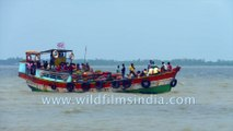 Way locals travel Ferries to Gangasagar , Sagar Island, West Bengal, India | 4k stock footage