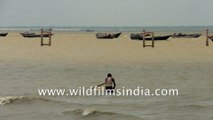 Boats And Ferries in the Bay of Bengal, Gangasagar, West Bengal, India | 4k stock footage
