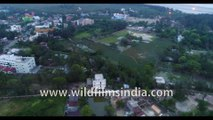 Homes, coastline and farmlands  on Bakkhali Beach , West Bengal, India | 4k Aerial stock footage , evening shot