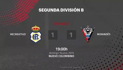 Resumen partido entre Recreativo y Mirandés Jornada 2 Segunda B - Play Offs Ascenso