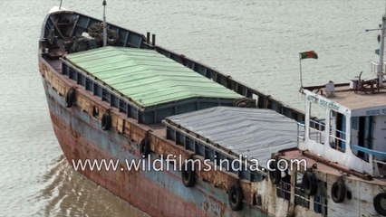 Cargo boats close up , leaving the Harbour , 4 k stock footage