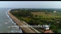 Birds eye view of Bakkhali Beach tour - West Bengal, Bay of Bengal, India. 4k stock footage.